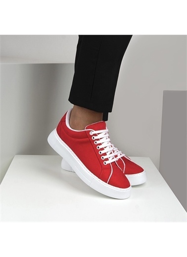 OKHU SHOES Kadın Süet Bağcıklı Günlük Sneaker Spor Ayakkabı Kırmızı
